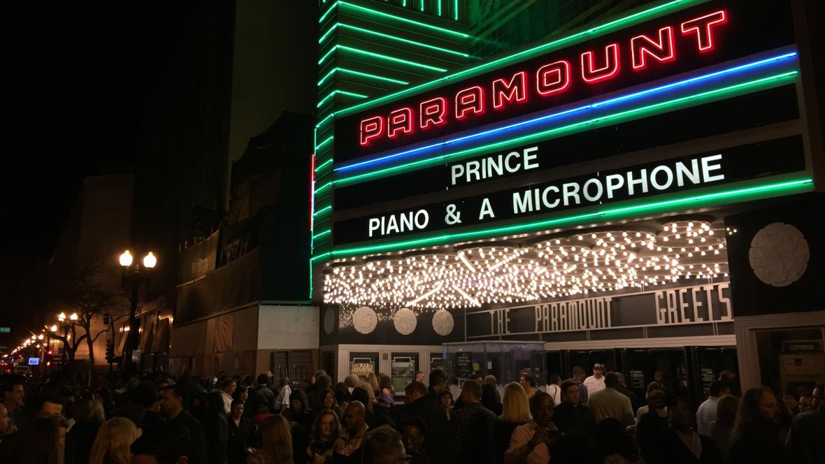Prince marquee at the Paramount Theater, Oakland, Feb. 28, 2016. Gabe Meline