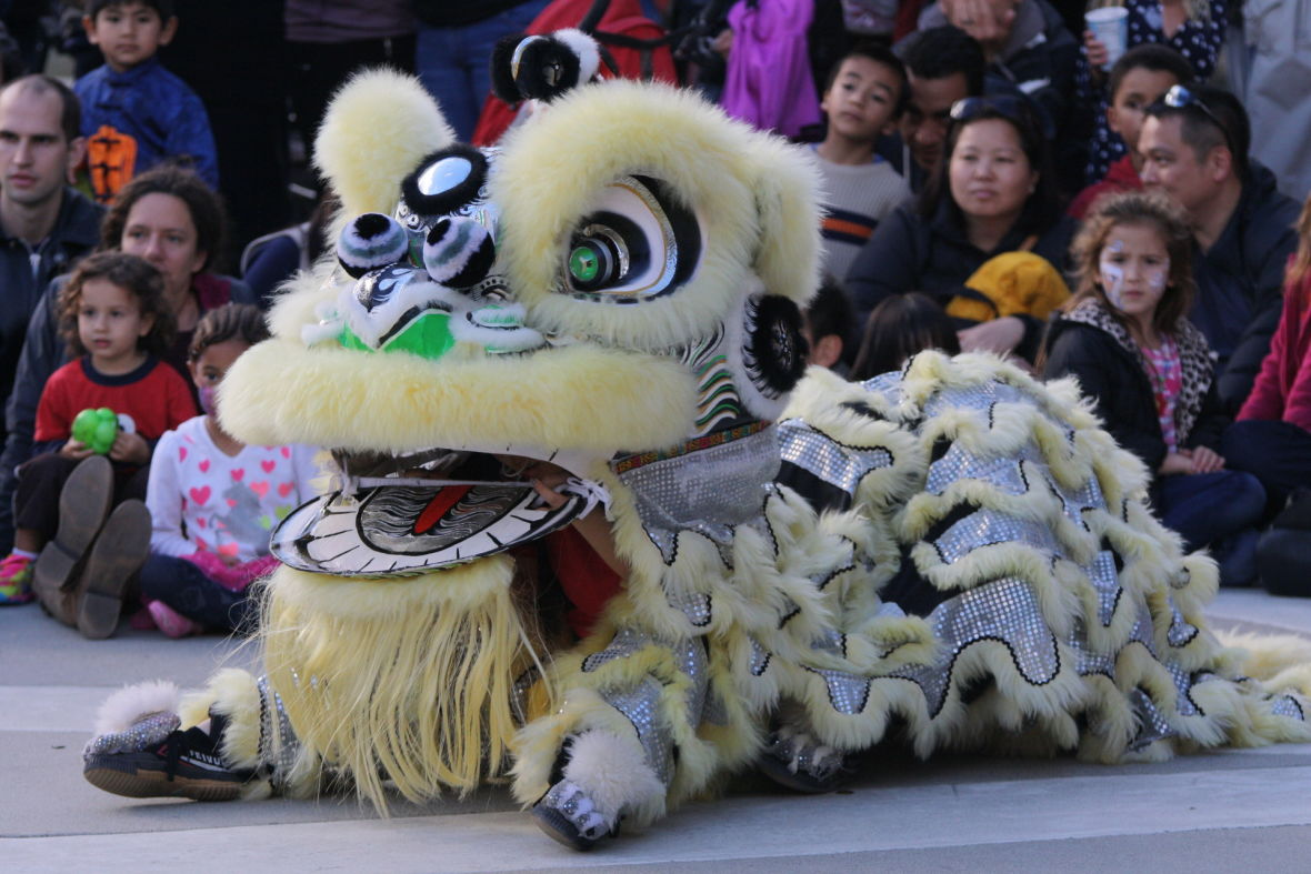 A traditional lion dance entrances the crowd at a recent Lunar New Year Celebration in Redwood City's courthouse square.