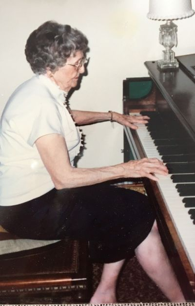 """We all know people within our own families who've been great musicians,"" regardless of whether they're pro, says Michael Zwiebach of San Francisco Classical Voice. Here's his great aunt, Birdie Engle, playing the piano on her 90th birthday. She sang at the Metropolitan Opera in the 1910s, before she got married."