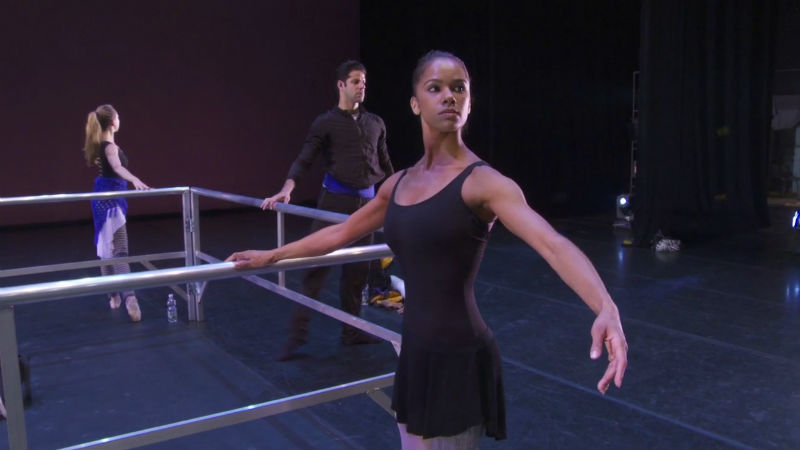 Misty Copeland warming up for performance in Italy for Roberto Bolle & Friends. July 2014.