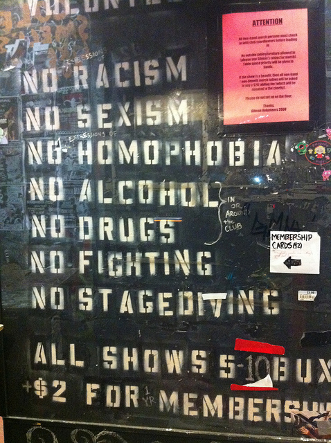 The rules posted at the entry to 924 Gilman.