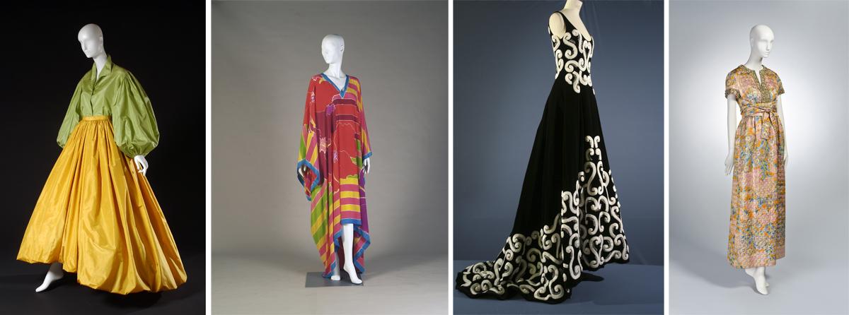 Left to right: Oscar de la Renta evening ensemble ca. 1978; Oscar de la Renta caftan Spring 1982; Oscar de la Renta for Pierre Balmain evening dress Autumn/Winter 1999–2000; Oscar de la Renta dress 1963–1965.