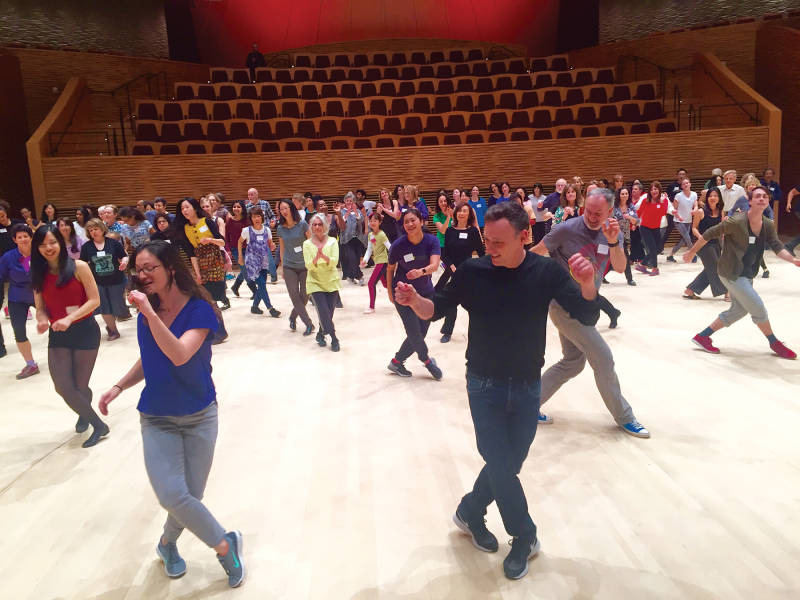 Choreographer Larry Keigwin leads participants through the 'Bolero Silicon Valley' casting call at Bing Concert Hall
