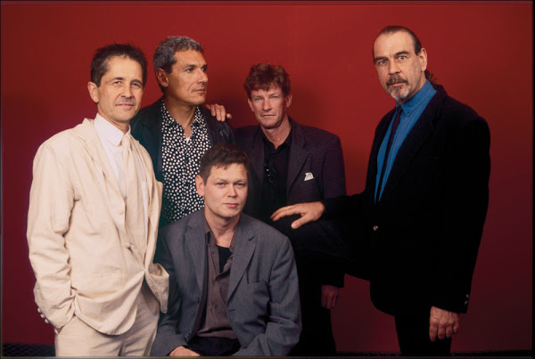 Promo shot of Tuxedomoon from the 1980s. Geduldig is fourth from the left
