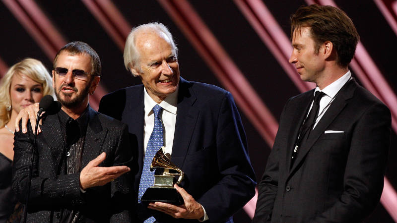 "Beatles musician Ringo Starr, Beatles producer Sir George Martin and producer Giles Martin accept the Best Compilation Sountrack Album award for ""Love"" onstage during the 50th annual Grammy awards"