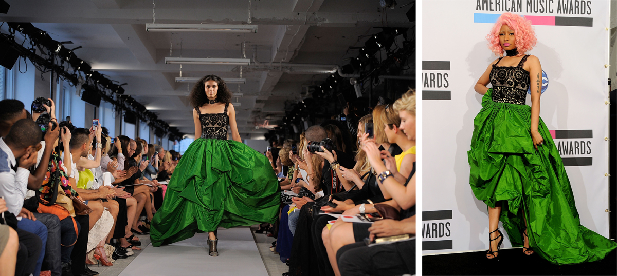 A model walks the runway at the Oscar de laa Renta Spring 2012 fashion show; Nicki Minaj at the 2011 American Music Awards.