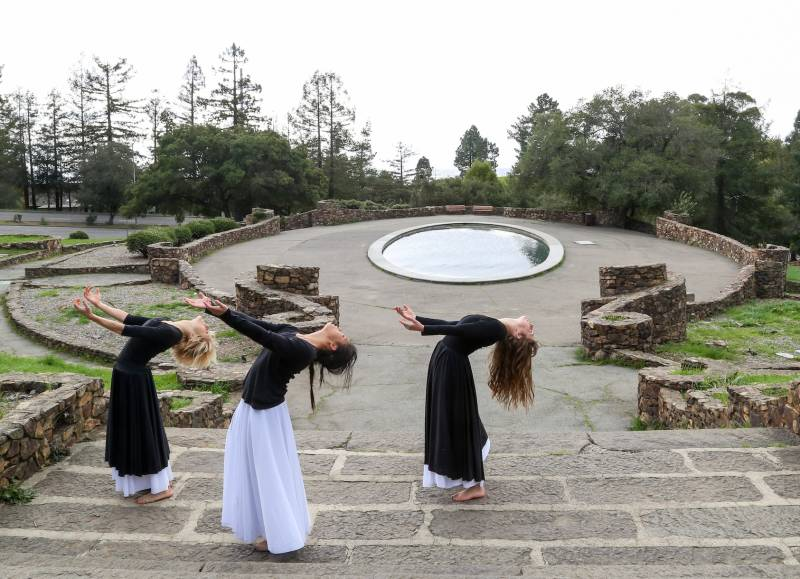 """A scene from the second part of Sarah Bush Dance Project's 'This Land Oakland', """"Reach"""", at Woodminster Cascade, Joaquin Miller Park, Oakland"""