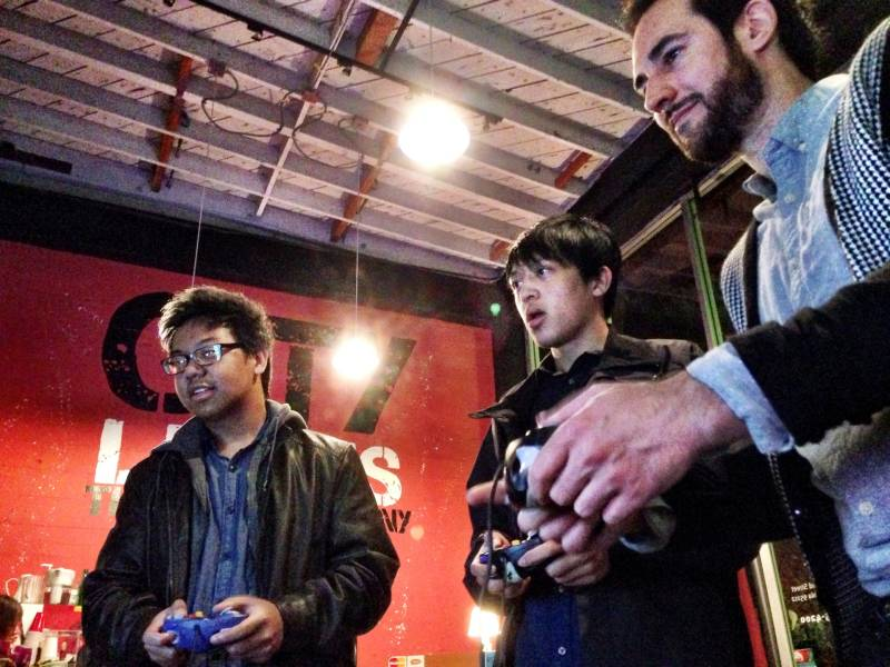 Rockage's Eric Fanali on the right with two other video game lovers
