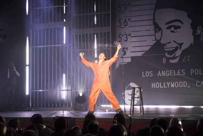Steve-O on stage in Austin, filming his special 'Guilty As Charged'