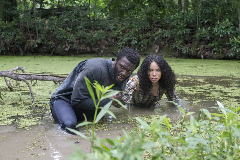 """Aldis Hodge, pictured above with Jurnee Smollett-Bell, plays Noah, the leader of the underground resistance. He says the show's impact stays with him even afterthe cameras are off: """"There's no way that you can come from set without taking a little piece of that with you,"""" he says"""
