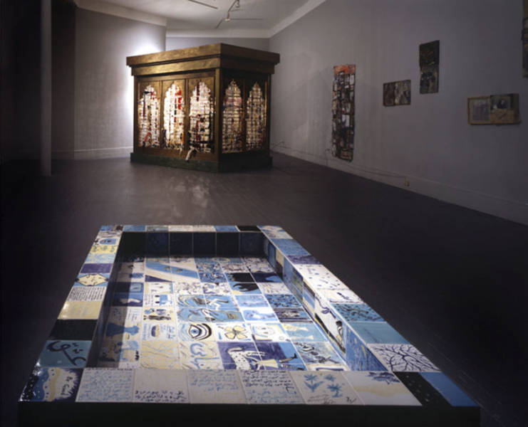 "Hemami's ""Sacred Space"" installation at San Francisco's The Lab featured women's stories embedded into mosque architectures."