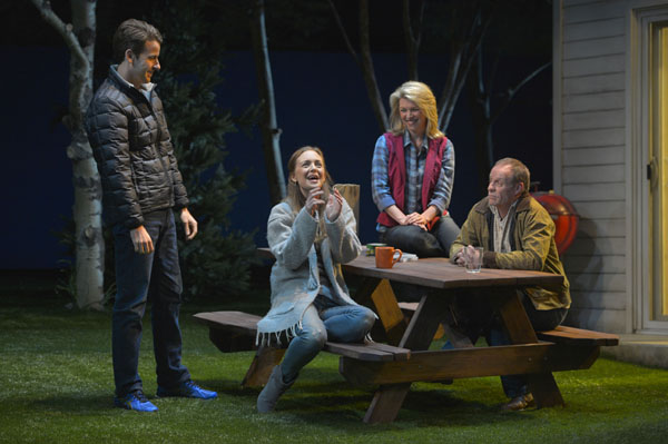 (L to R) John Jones (James Wagner) and his wife Pony (Allison Jean White) meet their new neighbors Jennifer Jones (Rebecca Watson) and her husband Bob Jones (Rod Gnapp) in Will Eno's The Realistic Joneses playing at A.C.T.'s Geary Theater through April 3, 2016. Photo by Kevin Berne.