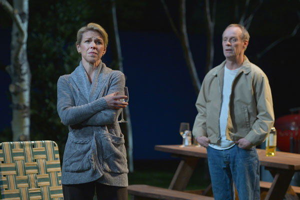 Jennifer Jones (Rebecca Watson) and Bob Jones (Rod Gnapp) try to have a conversation about Bob's deteriorating health in Will Eno's The Realistic Joneses playing at A.C.T.'s Geary Theater through April 3, 2016. Photo by Kevin Berne.