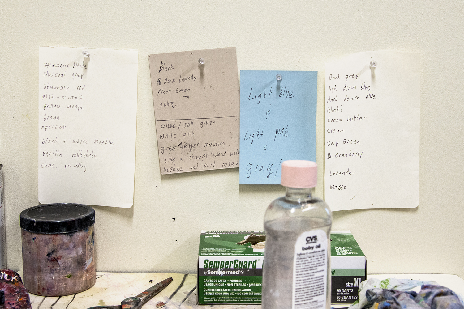 Color list poems in the studio.