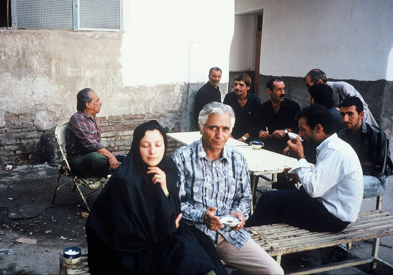 Hemami and her father pose for a picture at a teahouse in Qom, Iran during her visit in 1990
