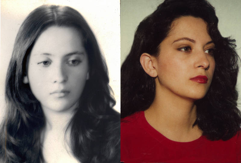 Hemami, pictured at 17 before moving to Oregon for college (left) and in her green card photo (right).