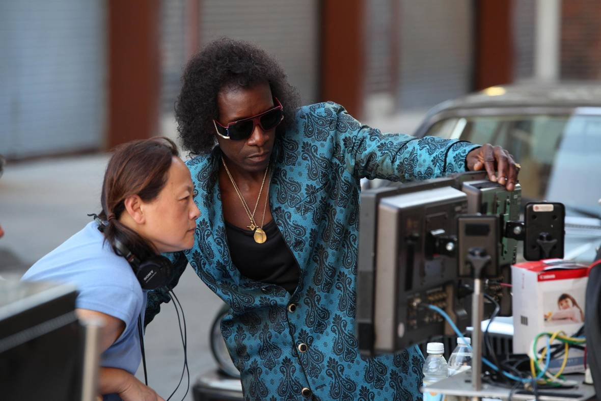 (L-R): Script Supervisor Belle Francisco and Director/Actor Don Cheadle on the set of 'Miles Ahead.'