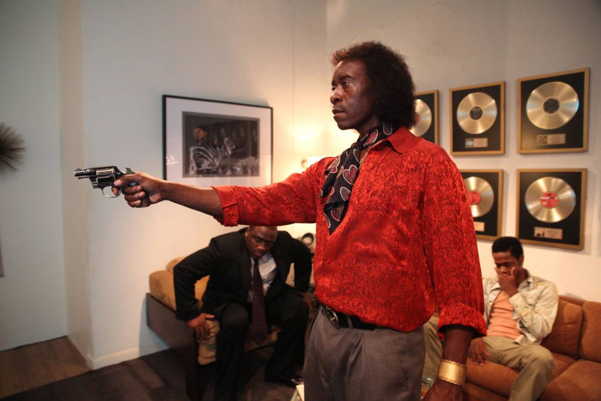 Don Cheadle as Miles Davis in a scene at Columbia Records, from 'Miles Ahead.'