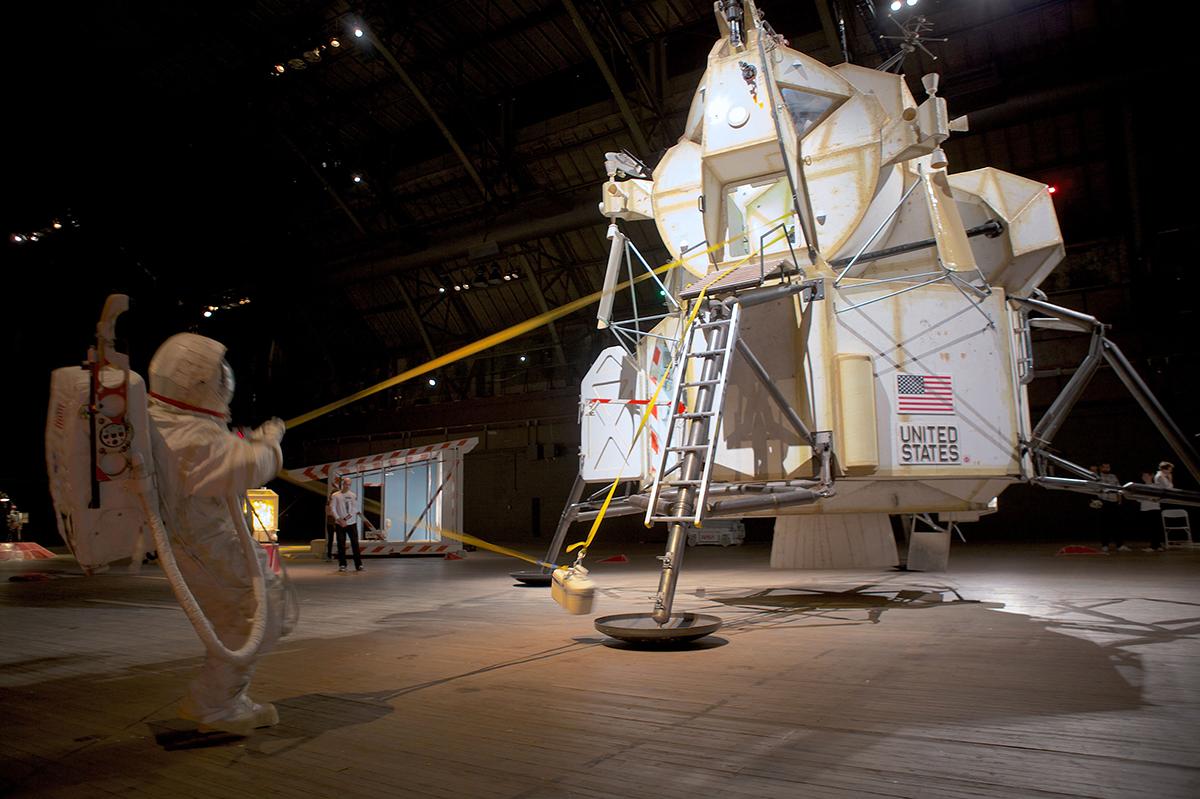Lt. Samantha Ratanarat loads soil samples onto the LEM after completing an extra-vehicular mission.