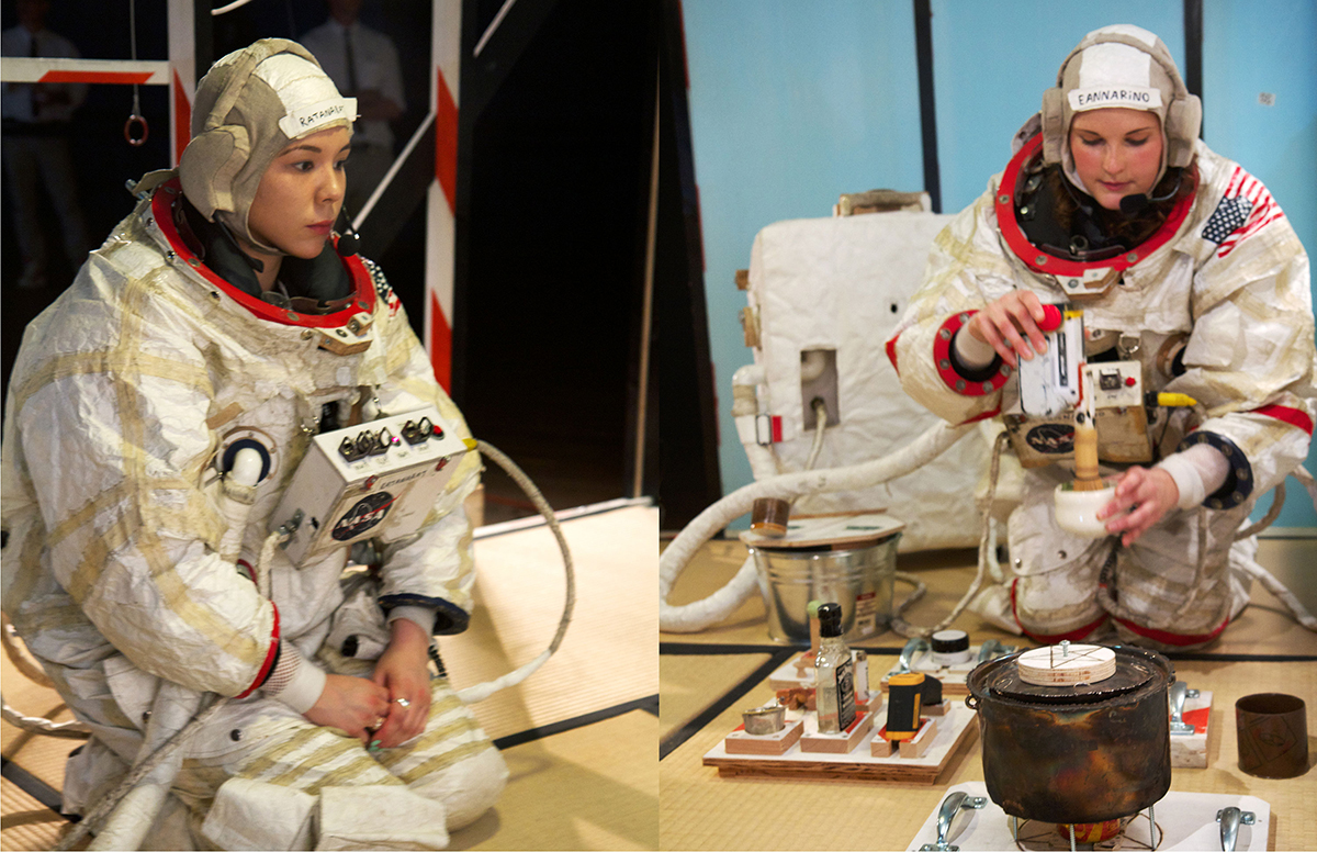 Lt. Samantha Ratanarat and Cdr. Mary Eannarino perform the first tea ceremony on the surface of Mars.
