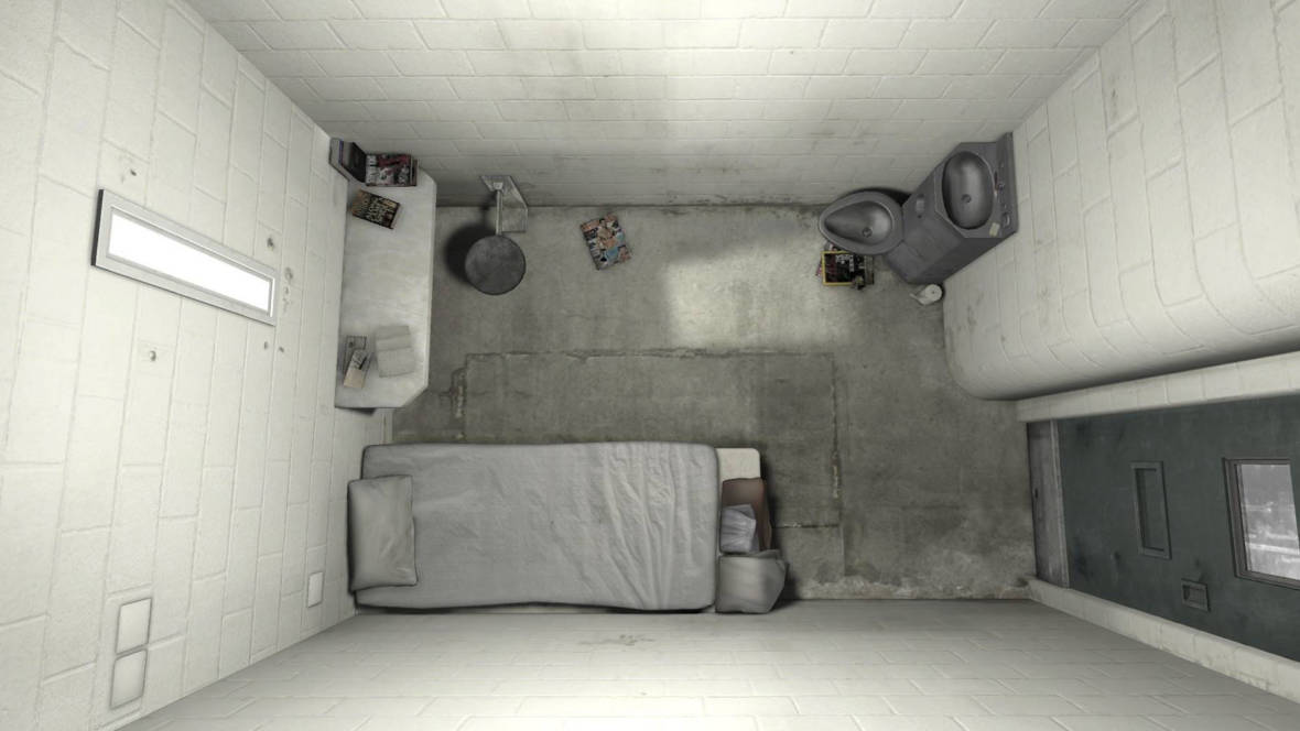 A still from '6x9: A Virtual Reality Experience of Solitary Confinement,' an immersive, audiovisual storytelling experience from the U.K.'s Guardian Media Group.