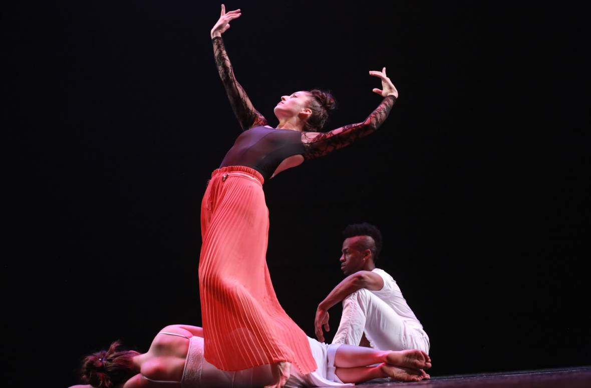 Natalie Aceves, Delvis Savigne Friñon, Fredrika Keefer (on floor) in Ramón Ramos Alayo's 'Where the Butterflies Go / A Donde Van las Mariposas', part of this year's CubaCaribe Festival
