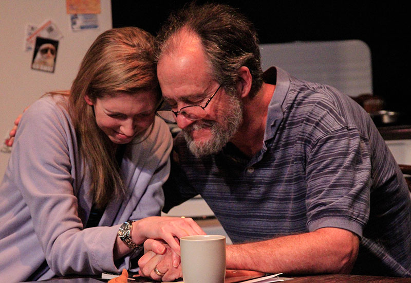Kelly Battcher (Emma) and W. Scott Whisler (James) in Dragon Theatre's 2nd Stages production 'Too Much, Too Much, Too Many.'