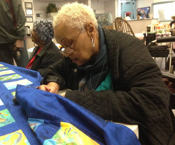 "Carolyn White, 71, has lived in East Palo since 1974. ""This is something for us, but our children will say 'Our grandmother, our mother, all our family, was participating in this quilt.' So it means a lot."""