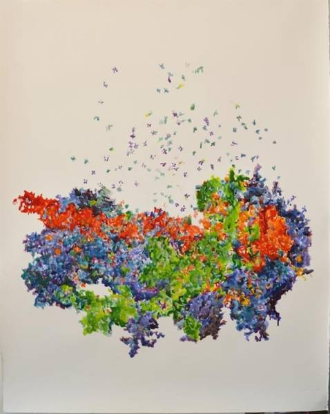 """Ribosome Metamorphosis,"" by chemist-turned-artist Michal Gavish (2016). She's one of the artists who's benefited from Palo Alto's city-sponsored, affordable studio space."