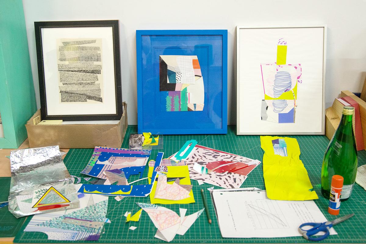 Collage materials in Sofie Ramos' studio.