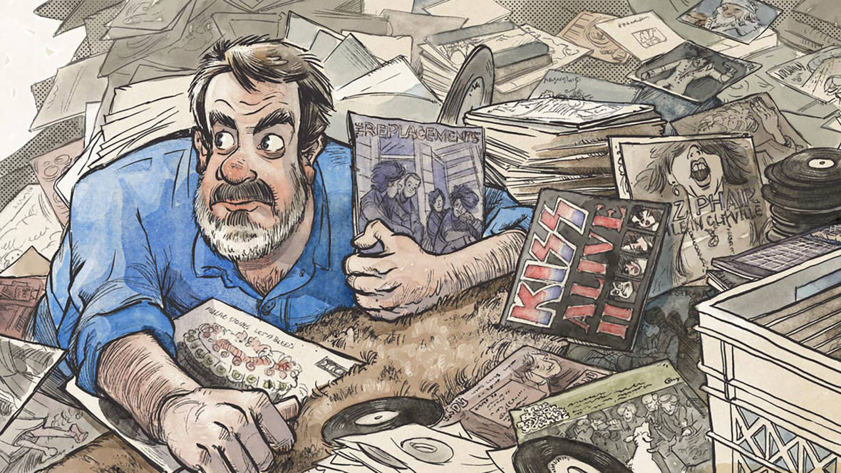"""Eric Spitznagel's newest book finds him searching for the records he used to own -- the exact same copies, in fact.  Illustration via <a href=""""http://recordsneverdie.com/"""">recordsneverdie.com</a>"""