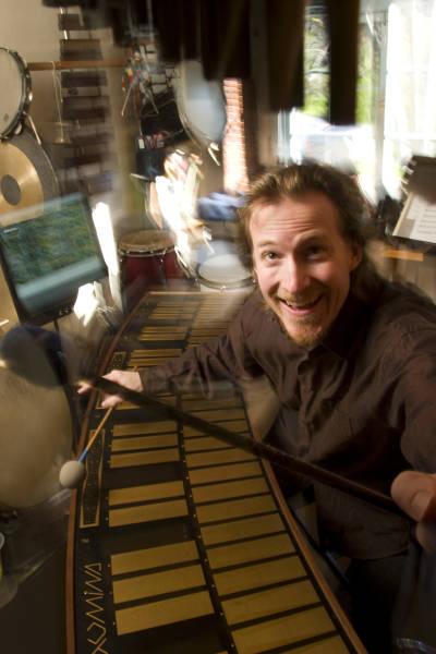 Joel Davel, getting happy on the Marimba Lumina.