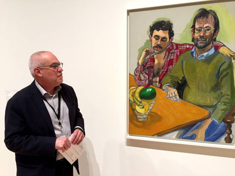SFMOM A Senior Curator Gary Garrels with SFMOMA's newly acquired Alice Neel painting