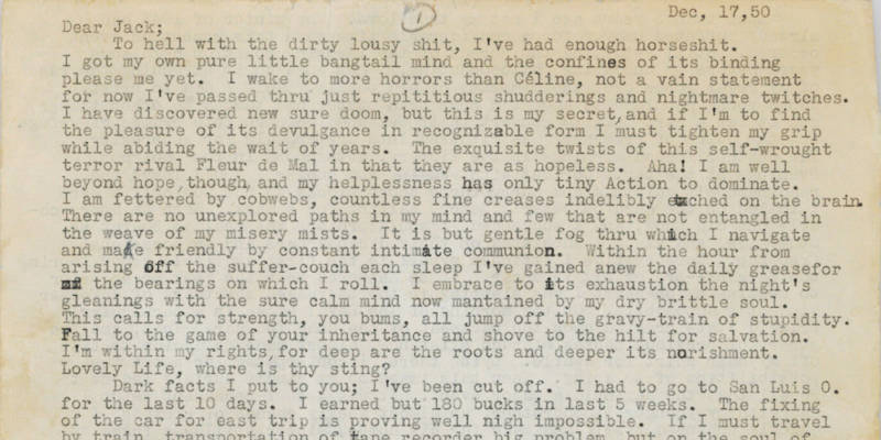 "An excerpt of the ""Joan Anderson Letter"" written by Neal Cassady"