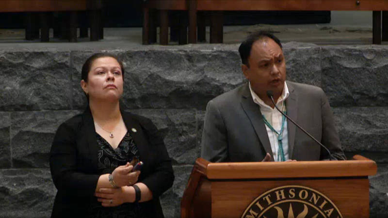 Hoopa Tribal Council Members Leilani Paul and Bradley Matthews at the Museum of the American Indian on Tuesday
