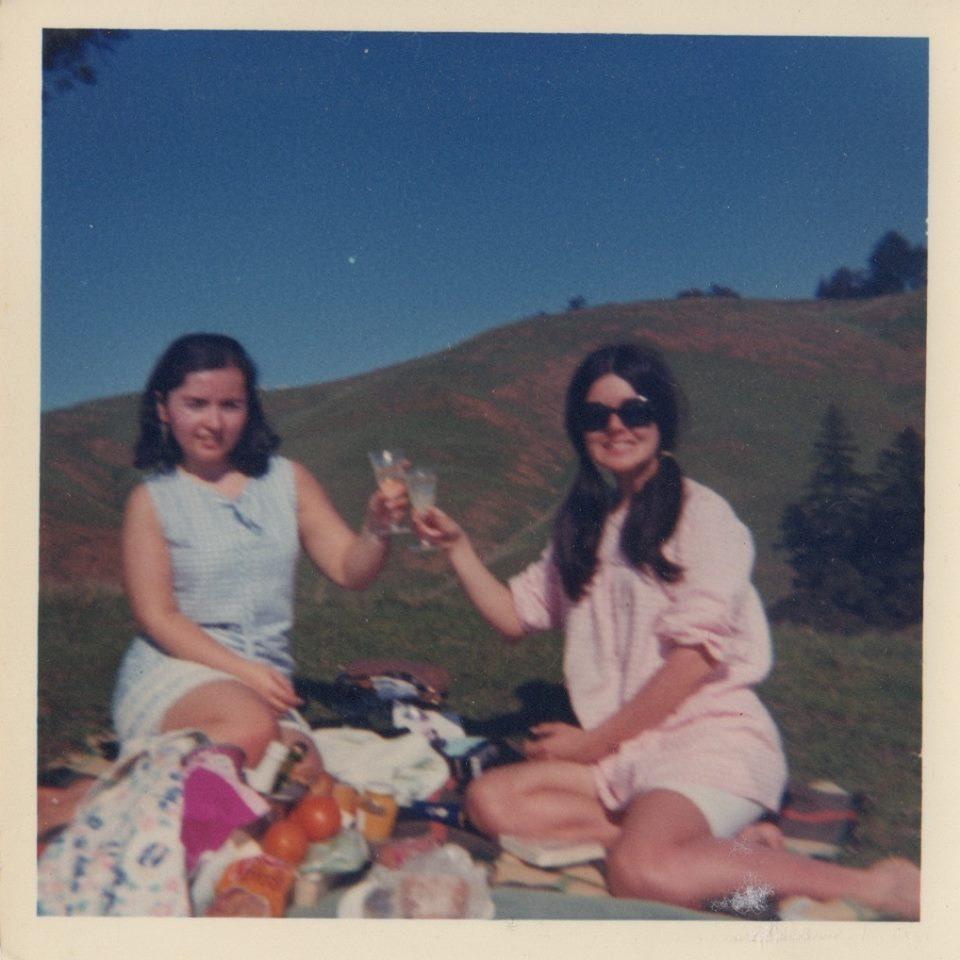 """Jacqueline Haber, via Facebook: """"Miss Martinez & Miss McNulty, San Franciscans picnicking on Mt. Tam, 1968!"""""""