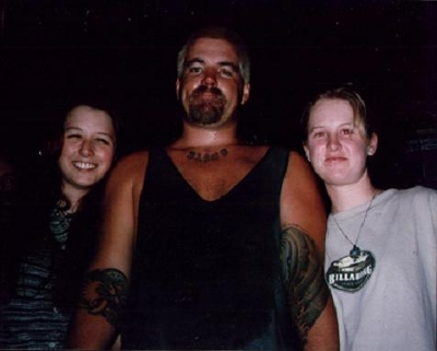 The last known photo of Brad Nowell, with fan Barbie Shearer and friend.
