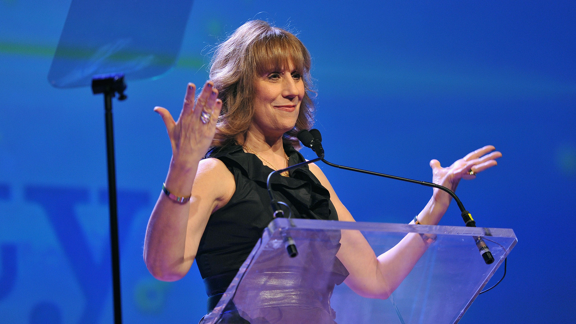 Lizz Winstead speaks onstage at the PFLAG National Straight For Equality Awards at Marriott Marquis Times Square