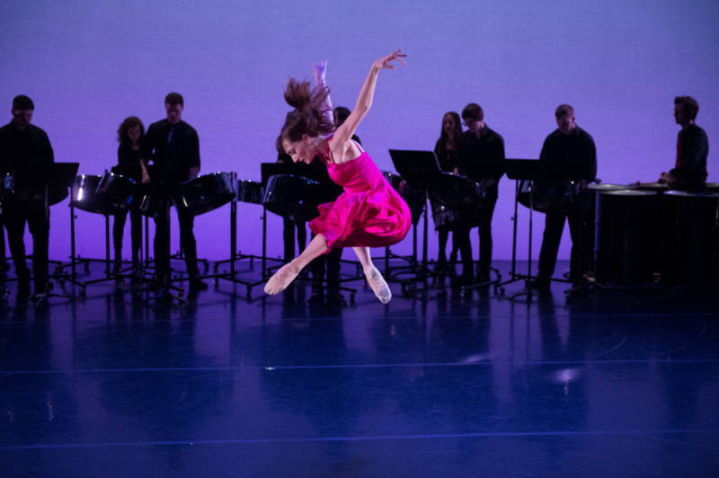 Amanda Treiber and the NYU Steel ensemble in Steven Melendez' and Zhong-Jing Fang's Song Before Spring for New York Theatre Ballet at New York Live Arts (Photo: Rachel Neville)