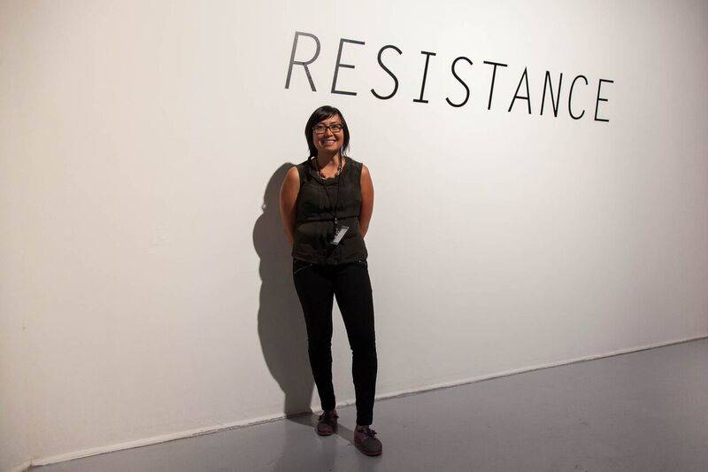 'Resistance' curator Pamela Ybanez poses for a portait at SOMArts Cultural Center.