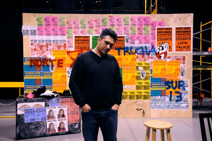 "Paul Flores in front of the set for his 'You're Gonna Cry."" Photo: Ramses El-Qare"