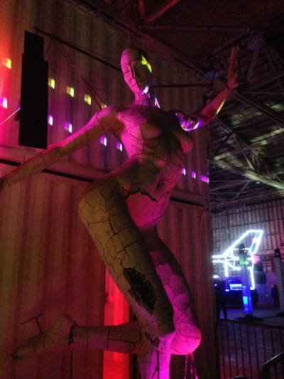 """Marco Cochrane's """"Bliss Dance,"""" the version that showed at Burning Man, was 40 feet high. But the 15 foot metal and ceramic model at Treasure Island's Building 180 is also pretty impressive."""