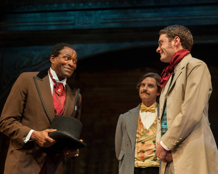 (L to R) Ira Aldridge (Carl Lumbley) is introduced by Pierre LaPorte (Patrick Russel) to one of his fellow actors Henry Forester (Devin O'Brien) in 'Red Velvet' at the SF Playhouse. Photo: Ken Levin.