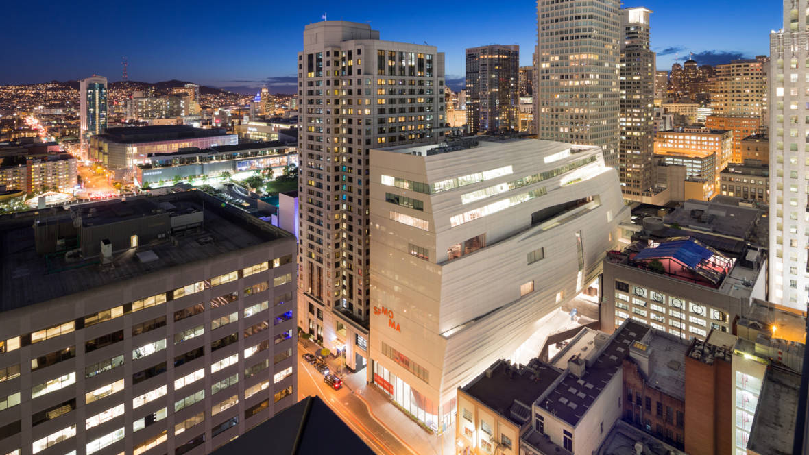 Snøhetta expansion of the new SFMOMA looking down on the new Howard Street entrance. Photo: © Iwan Baan, Courtesy SFMOMA