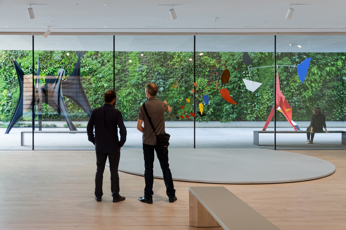 'Alexander Calder: Motion Lab' exhibition at SFMOMA, looking out on the living wall.