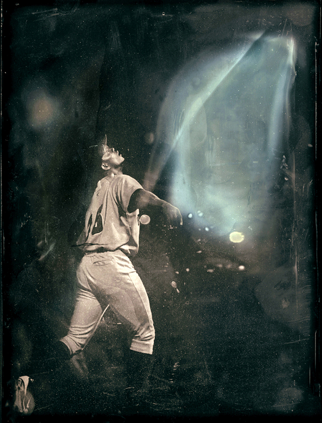 Tintype of a player on the Stockton Ports