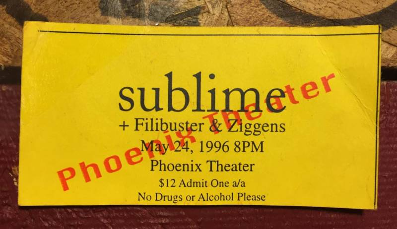 A ticket for Sublime's last show, May 24, 1996.