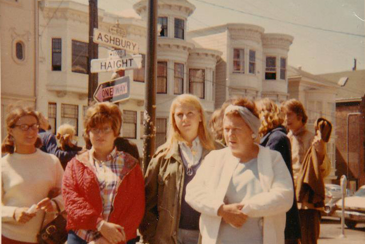 "A photo submitted by Sue Egan via Facebook: ""1967/68(?) Passing through S.F. with the family. I was the midwest ""hippie"" in the army jacket trying to be cool and pretend I wasn't with my more traditional cousins and mother. Look close and you can see my peace sign necklace."""