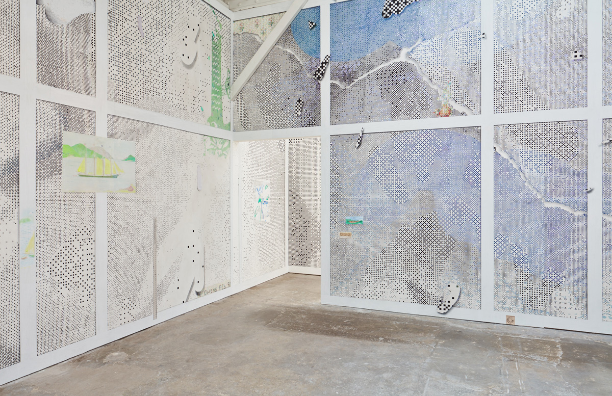 Laura Owens, 'Untitled,' 2016 (installation view); acrylic, oil, Flashe, silkscreen inks, charcoal, pastel pencil, graphite, and sand on wallpaper; courtesy the artist and Gavin Brown's enterprise, New York / Sadie Coles HQ, London / Galerie Gisela Capitain, Cologne.