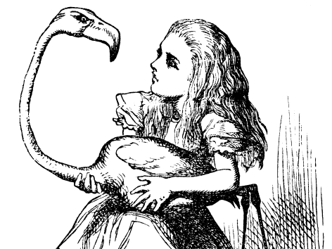 Alice attempting to play croquet using a flamingo in 'Alice's Adventures in Wonderland.'